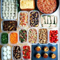 簡単レシピ/カップケーキ/マフィン/シュウマイ/ミートソース/手作りおやつ/... 今週の作り置き めにゅー(右側上段から)…