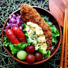 簡単/時短/手抜き弁当/白身魚のフライ/タルタルソース/ランチボックス/... 白身魚フライ弁当で おはようございます🙇…(1枚目)
