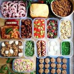 夜ごはん/ランチ/お昼ごはん/野菜たっぷり/手作りパン/献立/... 🌱今週の作り置き🌱 めにゅー(右側上段か…