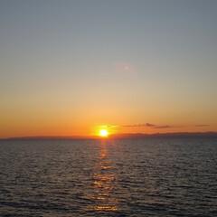はじめてフォト投稿/海/日本海/夕陽/夕日 日本海に沈む夕日です! 天気が良かったの…