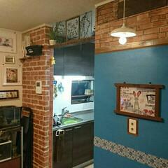 自己満足/レンガ/キッチン/リビング/壁/DIY/... そして結局反対側の壁もいじってしまった(…