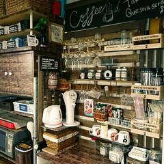 壁面収納/チョークボード/カフェ風/すのこ/DIY/100均/... イベント参加用✨  キッチンのすのこディ…