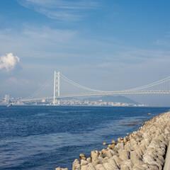 はじめてフォト投稿/旅行/淡路島 壮観の明石海峡大橋。