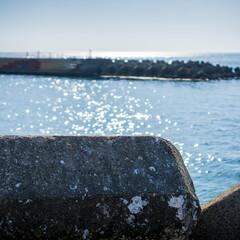 はじめてフォト投稿/旅行/淡路島 テトラポット越しの海。キラキラ~
