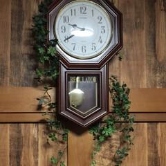 木目調壁紙/壁紙/日常/癒しの空間/インテリア/ダイニング/... お気に入りの壁時計に、グリーンを無造作に…