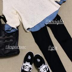 lesportsac/UNIQLO/VANS/GU/手編み 手編みセーターコーデ