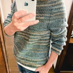 オパール毛糸/手編み リバーシブルセーター