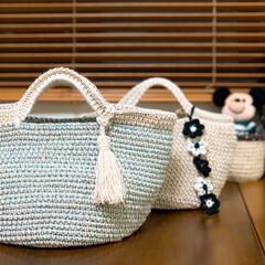 手編み 麻紐編みくるんだタコ糸マルシェバッグ