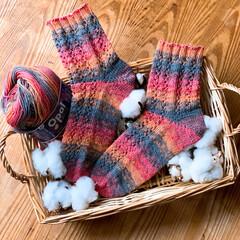 オパール毛糸/手編み コットンで夏の靴下