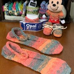 手編み/オパール毛糸/靴下/下着収納/靴下収納/ソックス収納/... さっぱりコットンでフットカバー