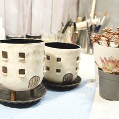 YouTubeチャンネルあります/プランツガーデンパラダイス/plantsgardenparadise/おうちモチーフ/リメイク鉢/リメ鉢/... 試作をかねて、 自宅用にリメイク鉢をつく…