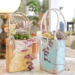 YouTubeチャンネルあります/YouTube/plantsgardenparadise/プランツガーデンパラダイス/モルタルデコ/モルタル鉢/... 2年前に作ったモルタルの紙バッグ…風😂✋…