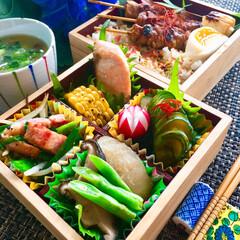 焼き鳥/家庭菜園の野菜でお料理/キッチン/オーガニック/野菜/ベジ弁当/... 😋今日のおべんとう〜♬  野菜尽くし弁当…