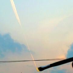 みんなにおすすめ 夕陽に染まった飛行機雲を筆で描いたように…