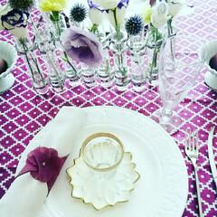 テーブルフラワー/私の部屋/フランフラン雑貨/テーブルコーディネート/キッチン雑貨/雑貨/... 雑貨店「私の部屋」で購入した、紫の生地を…