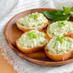 枝豆/オードブル/クリームチーズ/おつまみ/パーティー/夏/... 枝豆とクリームチーズのブルスケッタ。お手…