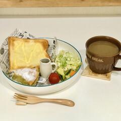 カフェ気分/ピクルス/朝ごはん/おうちごはん/100均 お久しぶりです  今日の朝ごはん  最近…