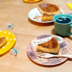 紙皿/ペーパープレート/手作りケーキ/ベイクドチーズケーキ/お祝い/誕生日/... 先月の、夫の誕生日  コストコチーズケー…