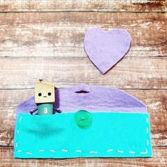 嬉しい/記念/子どもの作品/ポーチ/フェルト/お裁縫/... 小5になって始まった家庭科で、息子が初め…