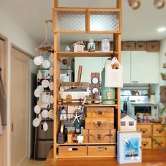 夏インテリア/DIY/飾り棚/収納棚/リビングカウンター/収納/... 先月、位置を変えたリビングカウンター上の…