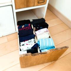 収納/手作りインテリア/DIY/チェスト/タンス/靴下収納/... 子ども達の靴下収納  過去に、安い合板や…