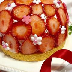 Homemade/タルト/いちご/美味しい/yummy/お菓子作り/... ちょっと前に作ったいちご🍓のタルト💖又つ…