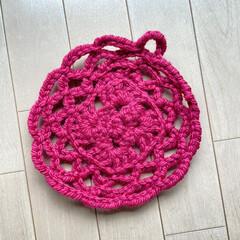 サステナブル/モチーフ編み/かぎ針編み/ダイソー/ハンドメイド/雑貨/... ハート形の練習しようと思って編み始めたら…(1枚目)