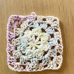 やっとできた/モチーフ編み/かぎ針編み/ハンドメイド/手作り/ハンドメイド作品/... やっとでき〜💪 憧れのモチーフ編み❣️ …(1枚目)