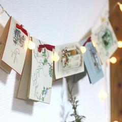 クリスマスオーナメント/クリスマスアイデア/クリスマスリース/ガーランドライト/ガーランド/クリスマス2019/... 狭いスペースにも飾れる、壁掛けクリスマス…