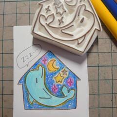 イルカはんこ/消しゴムはんこ/第3回わたしのハンドメイド/LIMIA手作りし隊/ハンドメイド作品/手作り/... 消しゴムはんこのイルカさん。 ひとやすみ…(1枚目)