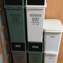 ゴミ箱収納/おうち自慢 このデザインと色がお気に入り! ゴミ捨て…(1枚目)