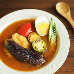 スープカレー/夏野菜/圧力なべ/スパイシー/辛いもの/おうちご飯/... 最近のお気に入りスープカレー。 圧力なべ…