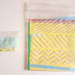 100均/折り紙収納/シール収納/文具/収納/整理/... こどもの折り紙とフレークシール(1つずつ…(1枚目)