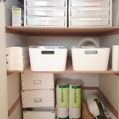 備蓄/防災/片付け/整理/収納 LDKにある造り付け収納の下段奥側を防災…