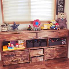 和室からの洋室/オモチャ箱/オモチャ収納/DIY棚/棚/DIY/... 子供が片付けやすいオモチャ棚をDIY♡ …