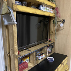アイアンペイント アイアンブラック(その他塗料、塗装剤)を使ったクチコミ「前に投稿した テレビ台兼作業机!  ベー…」(8枚目)