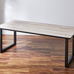 ホワイトアッシュ/ホワイト/アイアン/ダイニングテーブル/食卓/食卓テーブル/... ホワイトアッシュ ダイニングテーブル 脚…