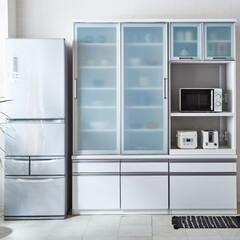 キッチンボード/引き戸/食器棚/食器収納/ダイニングボード/キッチン収納/... ホワイトを基調とした引き戸タイプのキッチ…