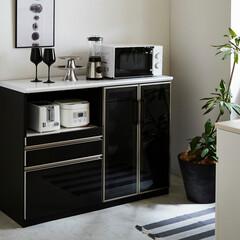 キッチンカウンター/ブラック/ホワイト/ガラス/大川家具/クラシオ/... ブラックで引き締める。 キッチンカウンター