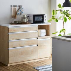 キッチンカウンター/メープル/クリーンイーゴスシート/メラミン天板/幅120cm/キッチン収納/... 木目調メープル キッチンカウンター