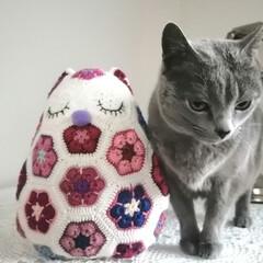 フクロウ/ふくろう/アフリカンフラワーモチーフ編み/編み物大好き/あみもの/編み物/... アフリカンモチーフのフクロウ編みました💕…