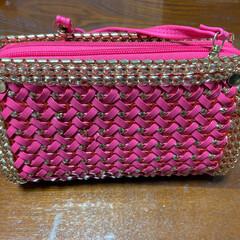 ジュエリーバック/手作りウォレット/ピンク/シャンパンゴールド 手作りウォレット、大好きなピンクと引き立…