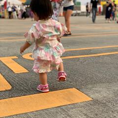1歳児/夕焼け/初めて/夏祭り/おでかけ/ファッション/... 初めての夏祭り!! 甚平を来てルンルンで…