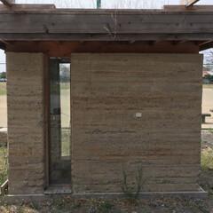 版築/土塀/残土利用 版築シェルター  前橋工大につくられた敷…