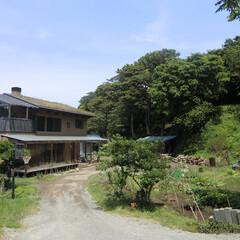 草屋根/土壁の家 みらいのいえ アプローチ  前に広がる畑…