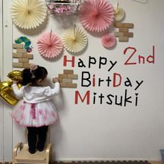 誕生日フォト/誕生日飾り/ひな祭り 次女の誕生日会 Hのスペルぬけてました!😂