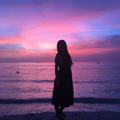 夕陽/お出かけ/ビーチ/サンセット/おでかけ/おでかけワンショット/... 今日の夕陽!ビーチでとーっても綺麗でした…