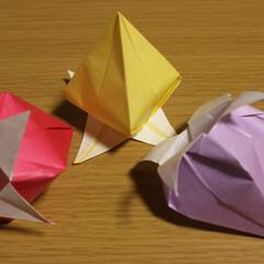 つりがね草/折り紙/工作 折り紙で釣り鐘草を作ってみた。置くだけで…