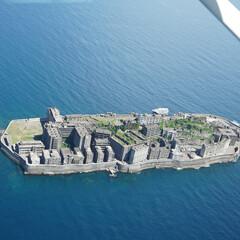 ブルー/軍艦島/端島/長崎 セスナで上空1000ft付近から撮影した…