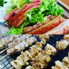 おうちカフェ 家のマイブーム☺️お庭で軽食、焼き鳥やさん(1枚目)
